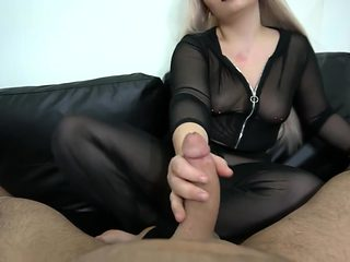 Footjob and handjob perfect cumshot