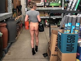 HIGH HEELED MILF SHORT SKIRT NO PANTIES IN HOME DEPOT NUDE IN PUBLIC