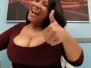 Big titty ebony jiggling boobs in office