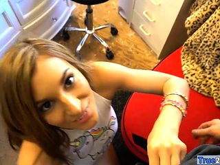 Hot ass babe with glasses deepthroats and fucked on cam