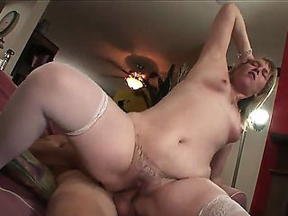 Tempting chubby and cheating Bethany with huge bouncing ass and natural tits in stockings only ri...