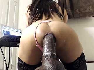 Ass Fucking A Giant Black Dildo
