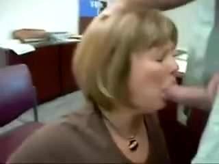 Office milf sucking cock