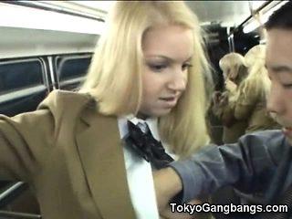Schoolgirl Gets Cum Her Skirt in a Bus!