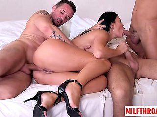 Hot milf foursome with cum in mouth