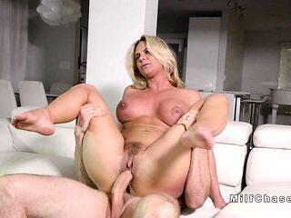 Huge tits Milf bangs strander at home