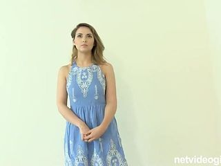 Casting interview with a cutie in a blue dress
