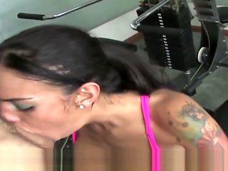 Latina fucks hard in a Gym