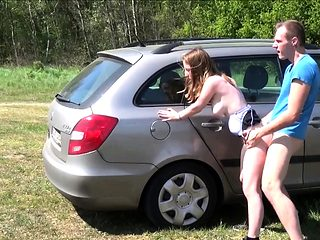 German cute hitchhiker teen pick up and fuck outdoor at car