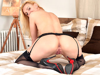 Beautiful mom Affina Kisser alone on her bed