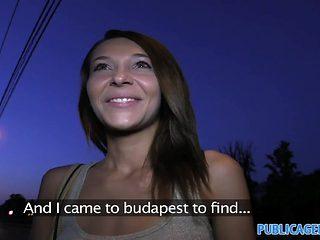PublicAgent: Cute brunette rides my big cock outdoors