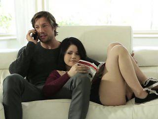 Cute Yhivi Sucks And Rides Big Cock Of Her Boyfriend's Dad