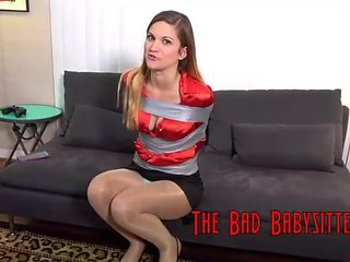 Babysitter Tape Bound and Gagged With Her Panties