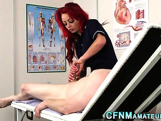 Cfnm nurse tugs patient