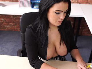 Secretary in a blouse lets her large whoppers come out