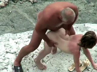Beach sex with the most tiny wife ever