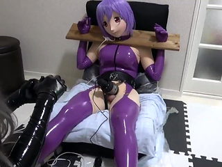 purple latex kigurumi bondage vibrating