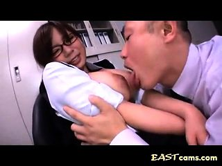 Asian babe with big boobs get groped by lusty man