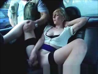 My slut wife in car having fun with voyeur
