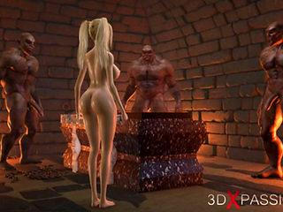 Sweet schoolgirl gets gangbanged by brutal orcs in dungeon
