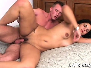 Spicy sexy diva is groaning as fellow drills her slit