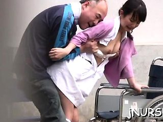 Breathtaking japanese nurse plays with toys on a large dick