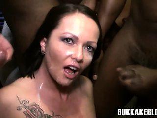 Skank gets bukkaked sucking dicks
