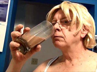 Naughty Gigi tries a chocolate milk enema