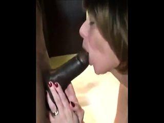 Interracial blowjob and she swallows