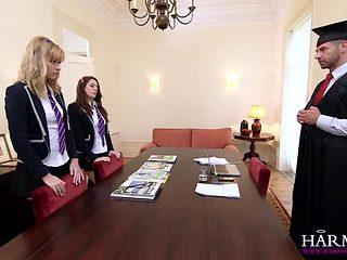 Naughty Schoolgirls Spanking Threesome