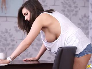 Cleaning house in a skimpy outfit and flashing
