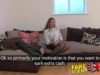 FakeAgentUK: Amateur girl orgasms and squirts all over casting couch