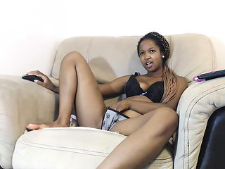 Ebony Amateur Plays with her Black Pussy