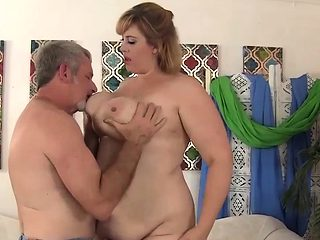 Big ass blonde BBW gets pussy drilled by older dude