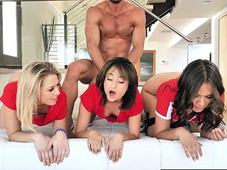 Three girls ride and bounce on Johnny