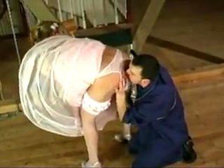 Bride in satin wedding dress cheats before the wedding