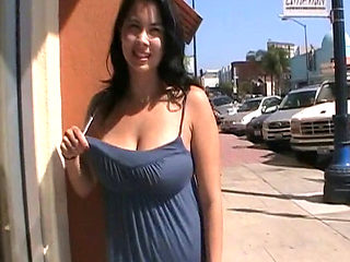 Black Haired Busty Latina Flashed Big Ass And Tits On Public