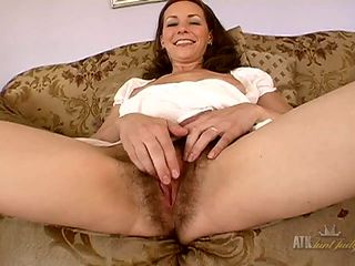 Nice bush grown by a joyful milf showing off