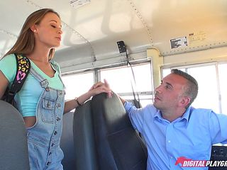 Bus driver with a big cock fucks the skinny teen chick