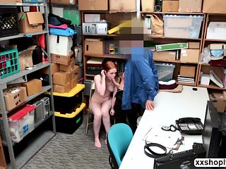 Blonde Shoplifter Ella Hughes gets hammered in the office