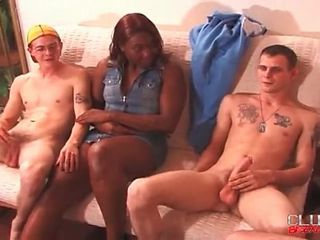 Thick black girl and three guys in bisexual video