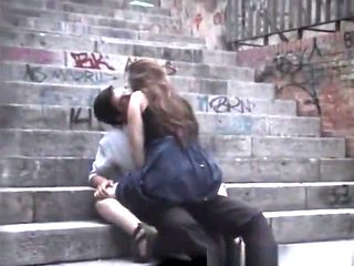 Teen couple fucking in public stairs