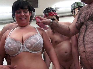 Busty Babe Soaked In Cum At A Bukkake