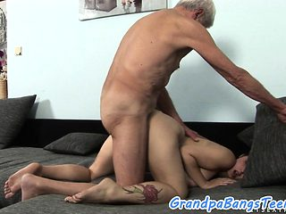 Busty eurobabe doggystyled by grandpa