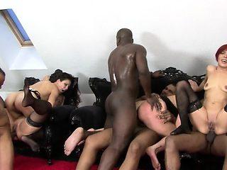 Hardcore double penetration interracial action