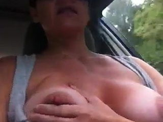 Flashed Tits In Car