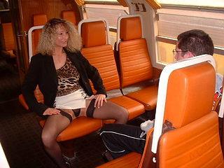 Virgin boy and amateur milf in train