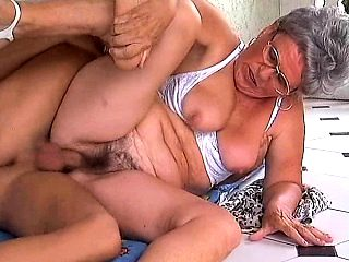 granny with big boobs has fun