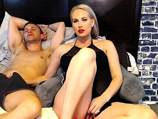 Amateur MILF handjob busty blonde wanks with enthusiasm