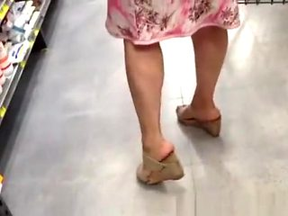 Yellow panties supermarket upskirt